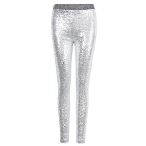NWT Shiny Silver Stretch Sequin Leggings/Tights